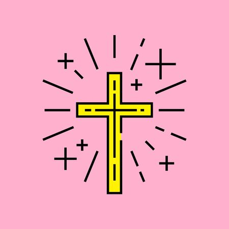 Christian symbol. Religious Cross line icon. Yellow Catholic crucifix sign with light rays isolated on pink background. Vector illustration.