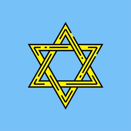 Star of David symbol. Religious Judaism sign. Yellow Jewish line icon isolated on blue background. Vector illustration. Stock Vector - 128636968