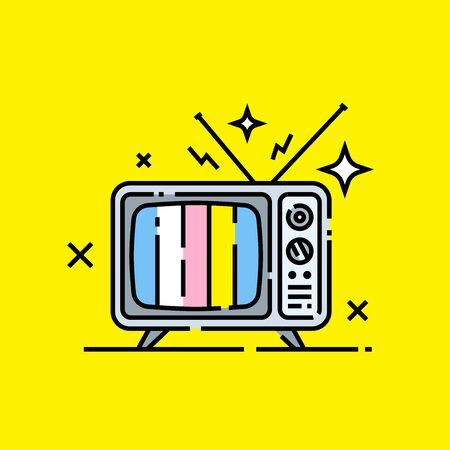 Retro TV icon. Old cartoon television graphic on yellow background. Vector illustration.