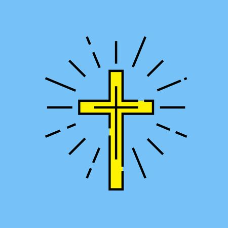 Religious Christian Cross line icon. Yellow Catholic crucifix sign with light rays on blue background. Easter celebration. Vector illustration.