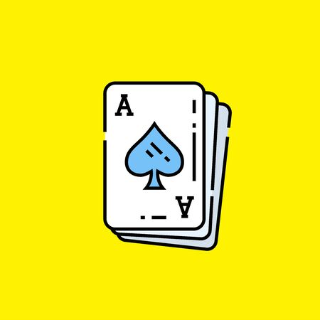 Ace of spades card icon. Poker playing cards symbol isolated on yellow background. Vector illustration.