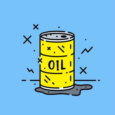 Oil barrel spill icon. Cartoon petroleum pollution  leak from yellow metal drum symbol isolated on blue background. Vector illustration.