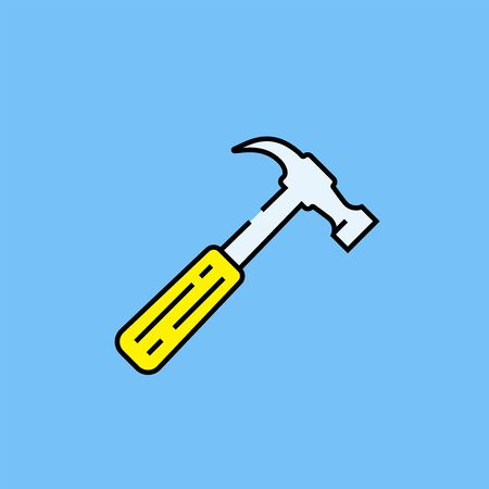 Hammer line icon. Hardware tool symbol with yellow handle isolated on blue background. Vector illustration. Illustration