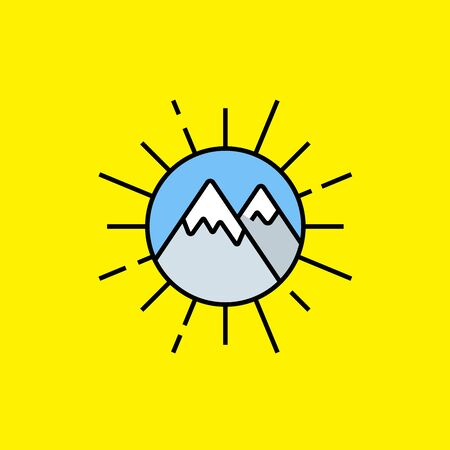 Sun mountains line icon. Mountain landscape inside sun rays circle graphic isolated on yellow background. Outdoor adventure symbol. Vector illustration.