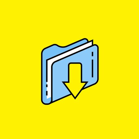 Download folder line icon. Storage data backup file sign. Blue computer document with down arrow symbol isolated on yellow background. Vector illustration.