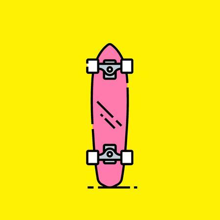Short skateboard line icon. Retro pink mini board. Old school cruiser shortboard symbol isolated on yellow background. Vector illustration. Illustration