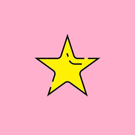 Yellow star shape symbol line icon isolated on pink background. Vector illustration. Illustration