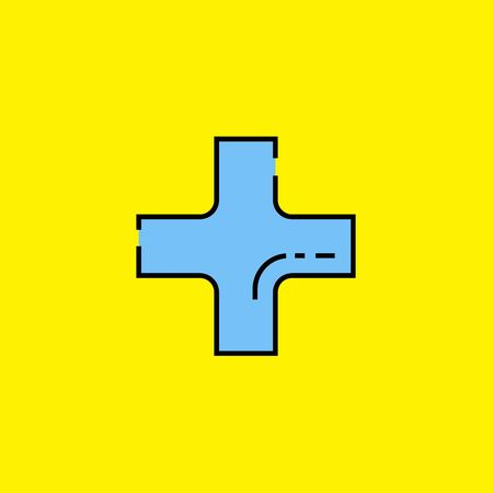 Plus add symbol line icon. Blue addition cross sign isolated on yellow background. Vector illustration.