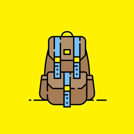 Adventure backpack line icon. Canvas outdoor style bag graphic. Brown backpacking baggage isolated on yellow background. Vector illustration. Ilustração