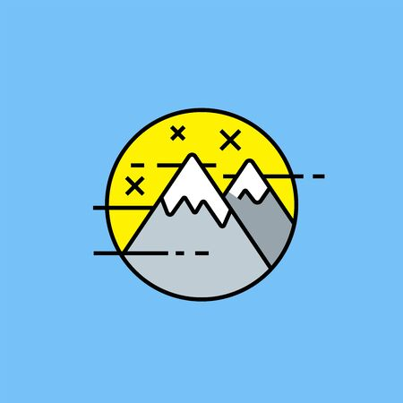 Mountains stars line icon. Simple mountain adventure emblem. Outdoor nature landscape symbol isolated on blue background. Vector illustration. Illustration
