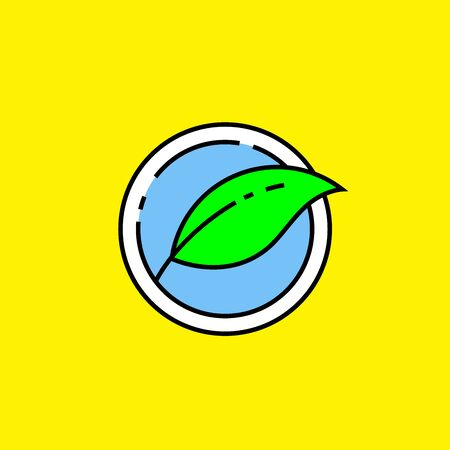 Eco leaf line icon. Green nature symbol. Environment ecology graphic isolated on yellow background. Vector illustration.