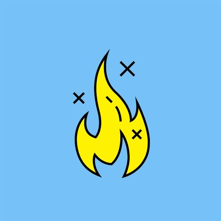Flame line icon. Flammable spark symbol.  Simple yellow fire symbol isolated on blue background. Vector illustration.