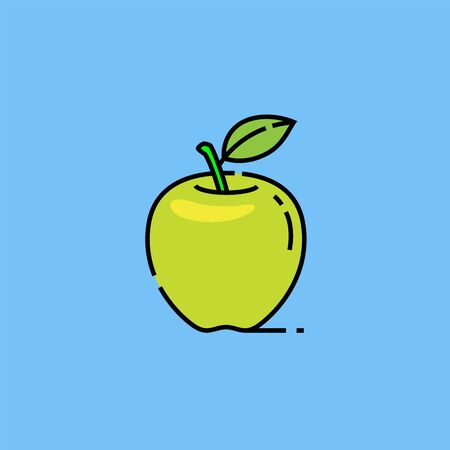 Green Granny Smith apple line icon. Healthy fruit snack symbol isolated on blue background. Natural food diet sign. Vector illustration.