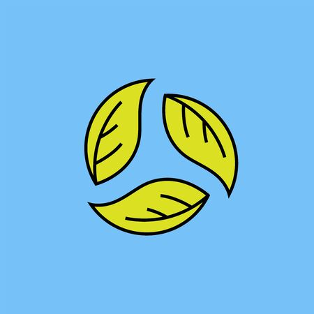 Eco recycle line icon. Green leaf recycling symbol isolated on blue background. Clean and sustainable energy bio design. Vector illustration.