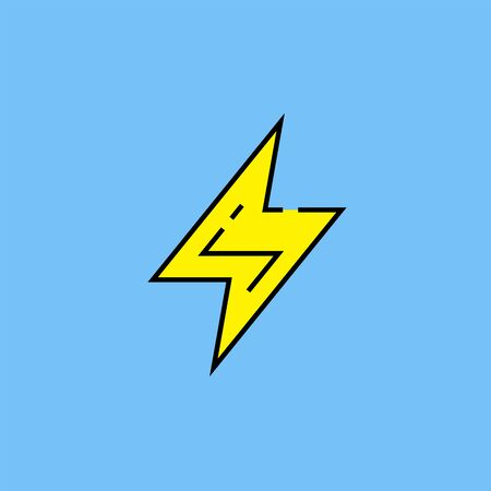 Electric bolt flash line icon. Electrical charge symbol. Yellow lightning strike sign isolated on blue background. Vector illustration. Illustration