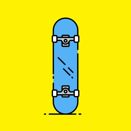 Skateboard line icon. Classic blue deck urban skate board graphic isolated on yellow background. Vector illustration. Illustration