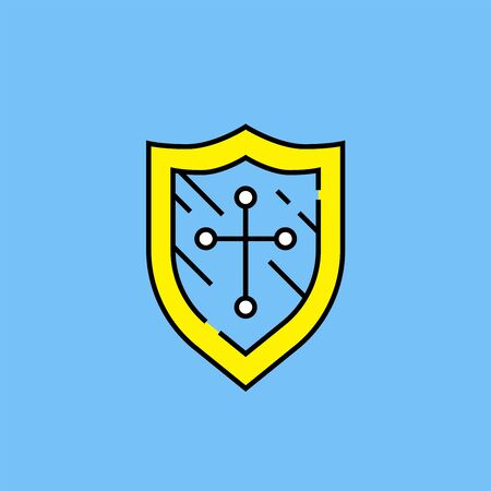 Shield cross line icon. Simple protection badge symbol. Linear security sign isolated on blue background. Vector illustration.