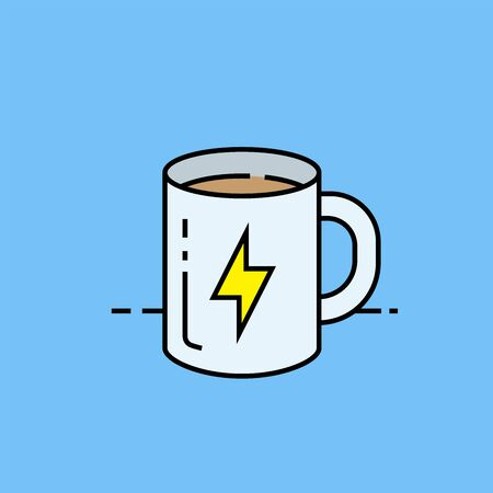 Coffee energy line icon. Morning caffeine power boost hot drink symbol isolated on blue background. Vector illustration.