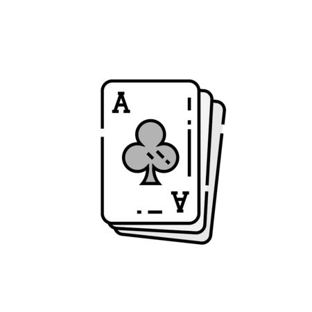 Ace of clubs card line icon. Poker playing cards symbol. Vector illustration.