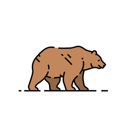 Brown bear line icon. Grizzly bear line graphic. Animal wildlife symbol. Vector illustration.