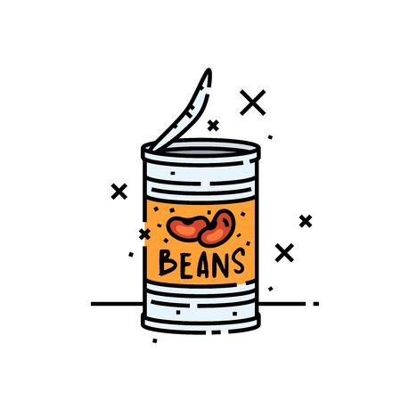 Icono de línea de frijoles enlatados. Símbolo gráfico de dibujos animados de lata de frijoles al horno. Ilustración vectorial.