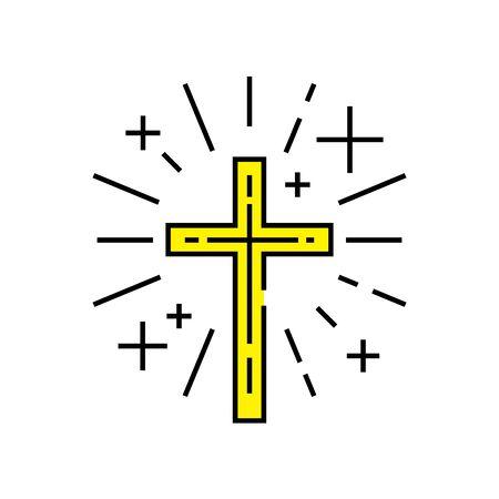 simbolo cristiano. Icona della linea trasversale religiosa. Segno giallo crocifisso cattolico. Illustrazione vettoriale.