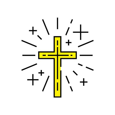Christian symbol. Religious cross line icon. Yellow Catholic crucifix sign. Vector illustration.