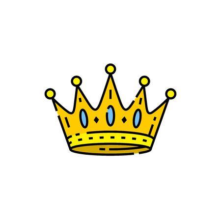 Gold crown line icon. Kings golden royal crown symbol. Vector illustration.