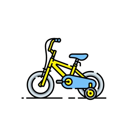Kids bicycle line icon. Yellow childrens bike symbol with safety wheels. Vector illustration.