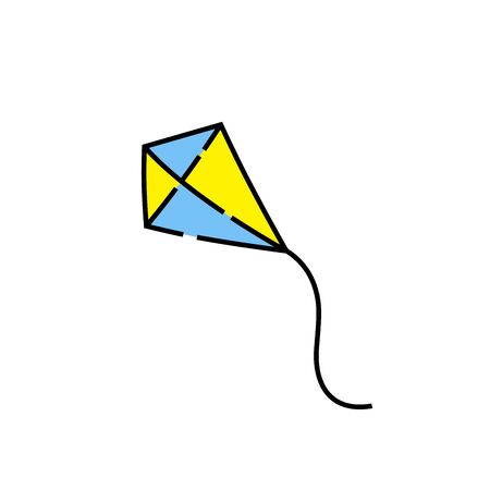Blue and yellow kite line icon. Vector illustration. Illustration