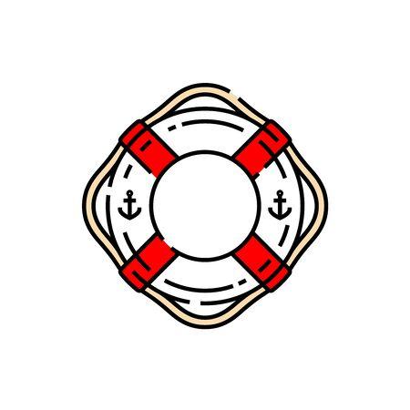 Lifebuoy ring line icon. Life saver sea and beach rescue float symbol. Vector illustration. Vettoriali
