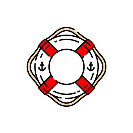 Lifebuoy ring line icon. Life saver sea and beach rescue float symbol. Vector illustration. Illustration