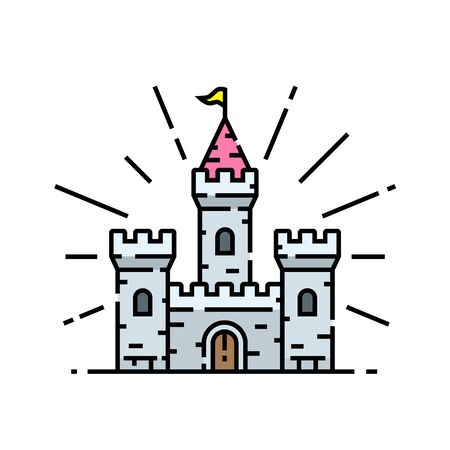 Old castle line icon. Medieval fairytale stone palace symbol. Vector illustration.