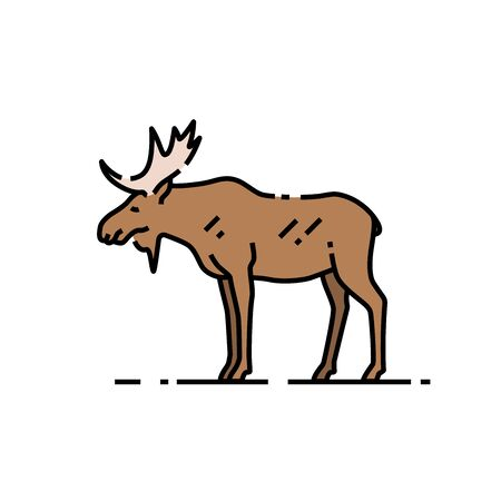 Moose line icon. Wild bull elk sign with antlers symbol. Vector illustration.
