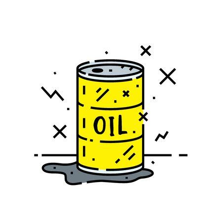 Oil barrel line icon. Cartoon pollution spill from yellow metal drum symbol. Vector illustration. Illustration
