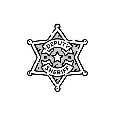 Sheriff badge line icon. Wild west Deputy ranger star symbol. Vector illustration.