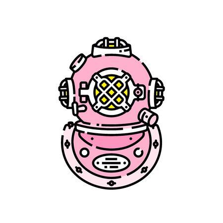 Pink retro deep sea diving helmet line icon. Nautical vintage scuba gear symbol. Vector illustration.