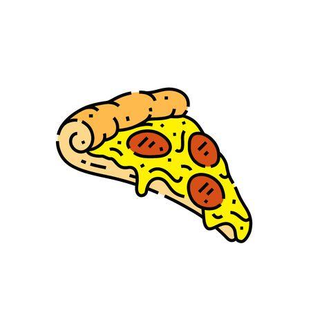 Pizza slice line icon. Italian fast food symbol. Vector illustration.
