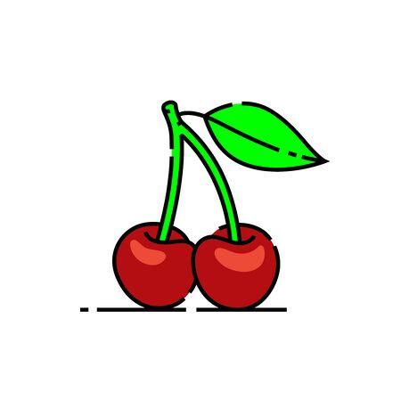 Cherries line icon. Sweet red cherry symbol. Vector illustration.