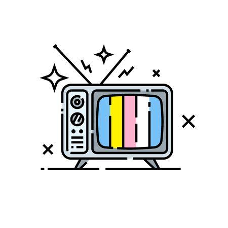 Retro TV line icon. Old television symbol. Vector illustration.