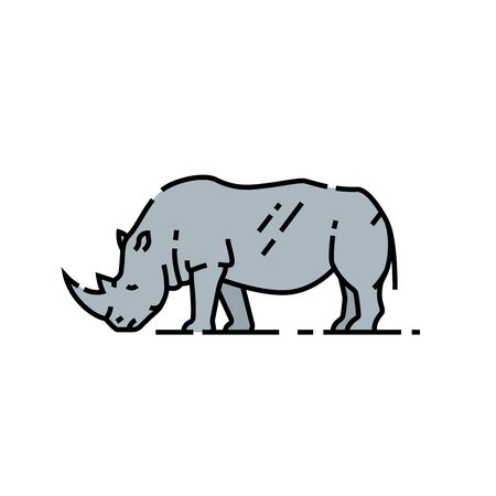Rhino line icon. African White rhinoceros symbol. Wildlife safari animal icon. Vector illustration. Reklamní fotografie - 127901636