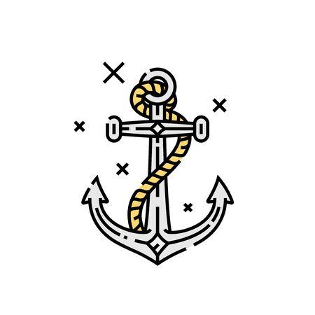 Vintage ship anchor line icon. Old sailor anchor with rope symbol. Vector illustration. Illustration