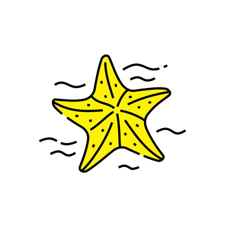 Yellow starfish line icon. Marine sea life symbol. Vector illustration. 矢量图像