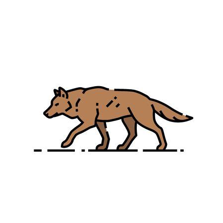 Wolf line icon. Wild canine symbol. Vector illustration.