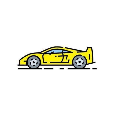 Yellow supercar line icon. Classic sports car symbol. Retro performance motor vehicle sign. Vector illustration.