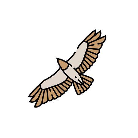 Eagle flight line icon. Hawk symbol. Bird of prey wingspan sign. Vector illustration.