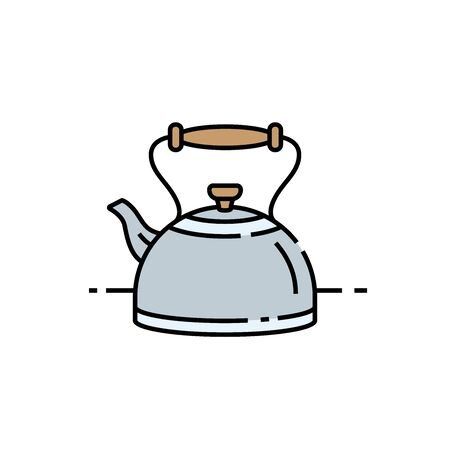 Old kettle line icon. Classic kitchen teapot symbol. Vector illustration.