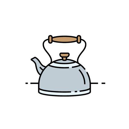Vecchia icona della linea di bollitore. Simbolo classico della teiera da cucina. Illustrazione vettoriale.