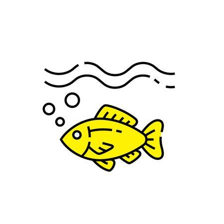 Little yellow fish line icon. Simple marine sea life symbol. Vector illustration. Illustration