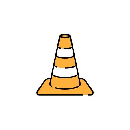 Traffic cone line icon. Orange and white striped plastic road safety cone sign. Vector illustration.
